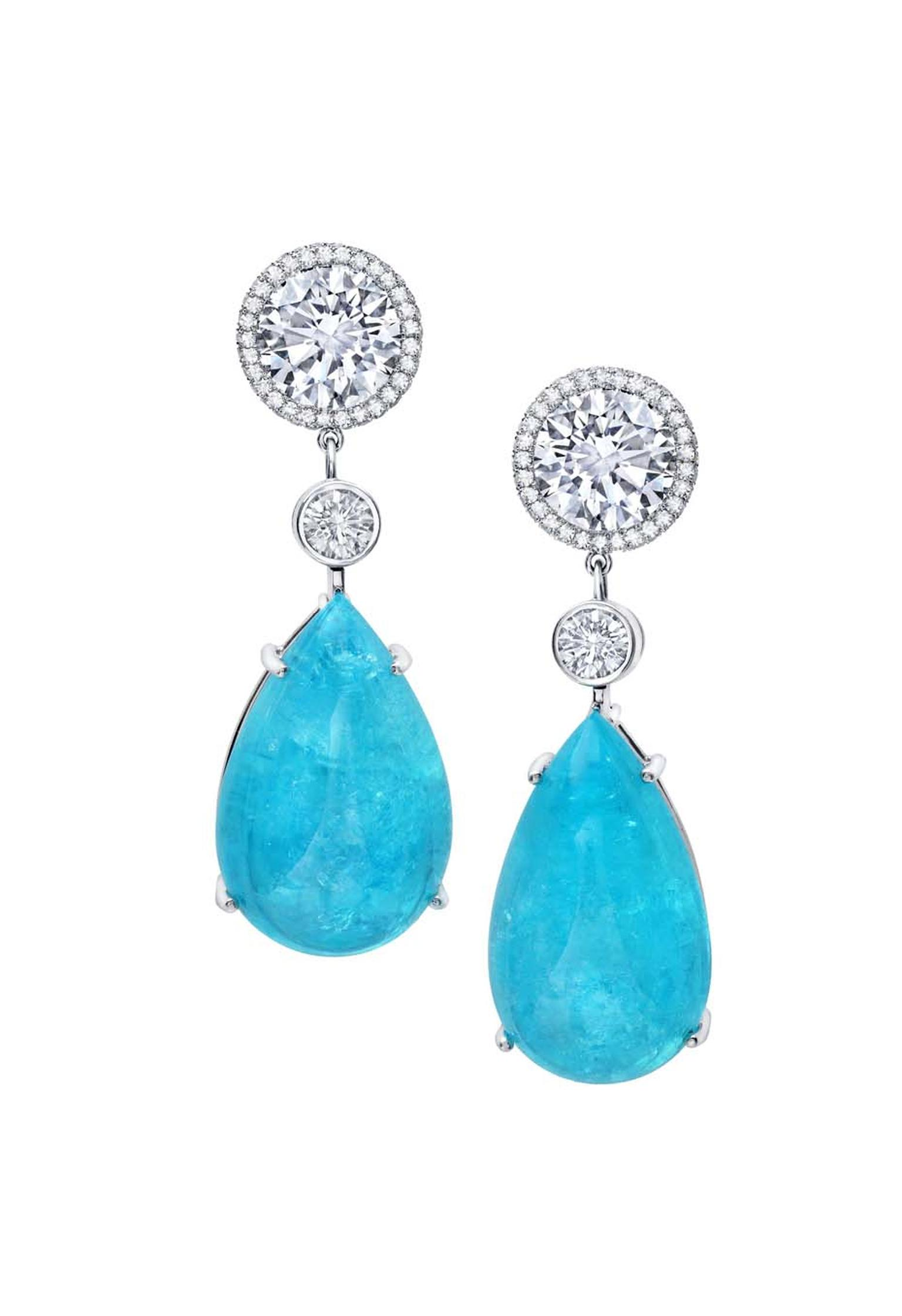 Martin Katz pear-shape Paraiba tourmaline earrings in platinum with diamonds, which are detachable from the necklace.