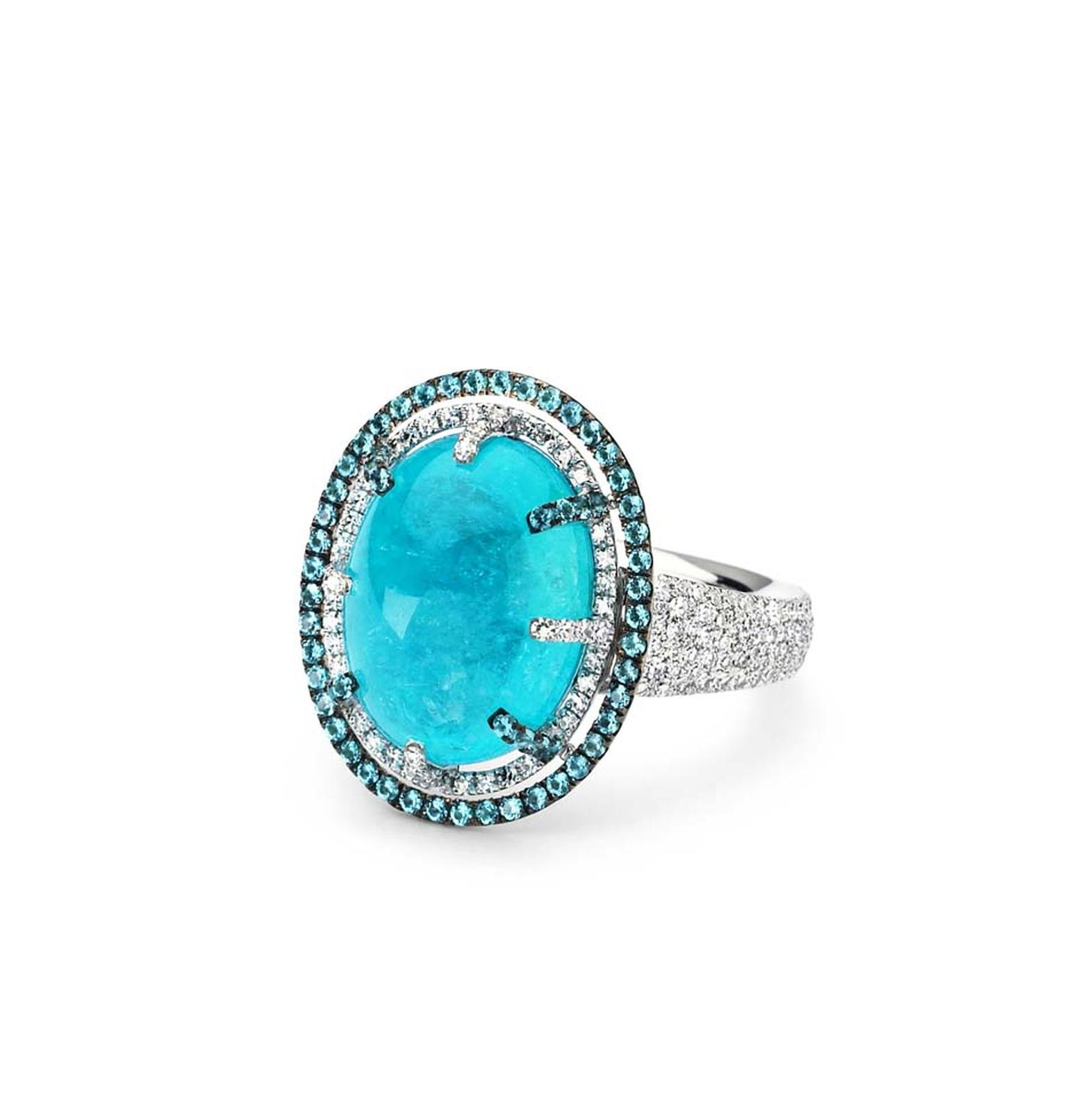 Martin Katz Paraiba tourmaline cocktail ring in white gold with diamonds.