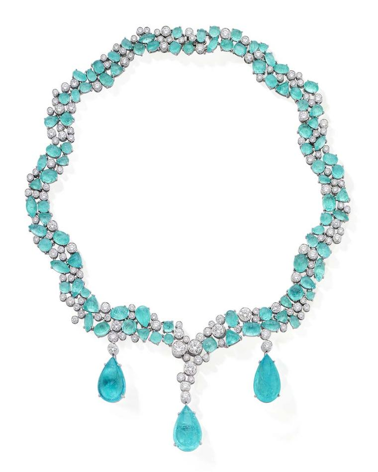Martin Katz's cabochon Paraiba tourmaline and diamond necklace in platinum features a pair of detachable Paraiba tourmaline earrings, which can be worn alongside the necklace.