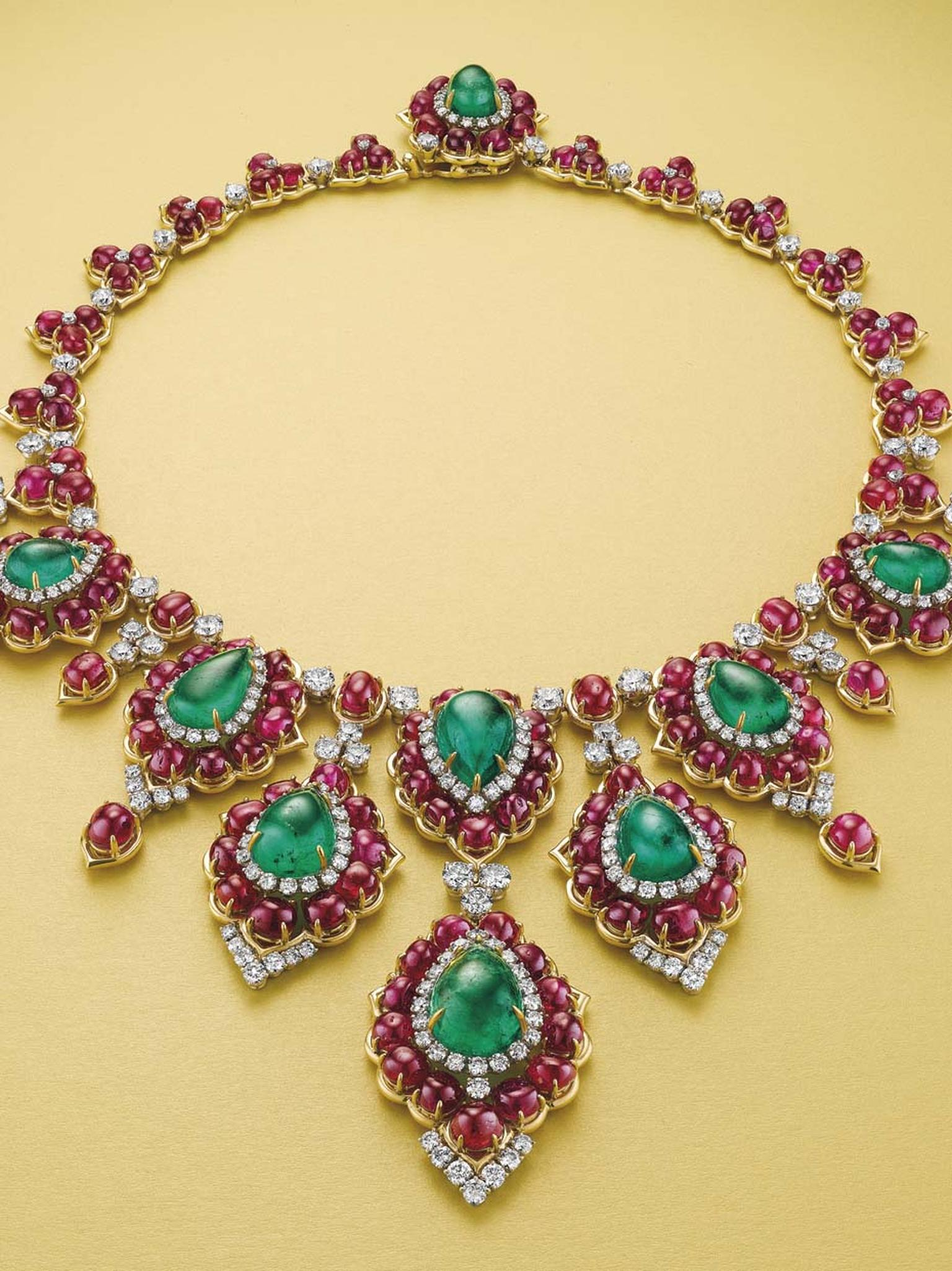 One of the highlights of Christie's Magnificent Jewels auction in New York is sure to be this superb emerald, ruby and diamond necklace by Bulgari, with an estimated value of $300-400,000.
