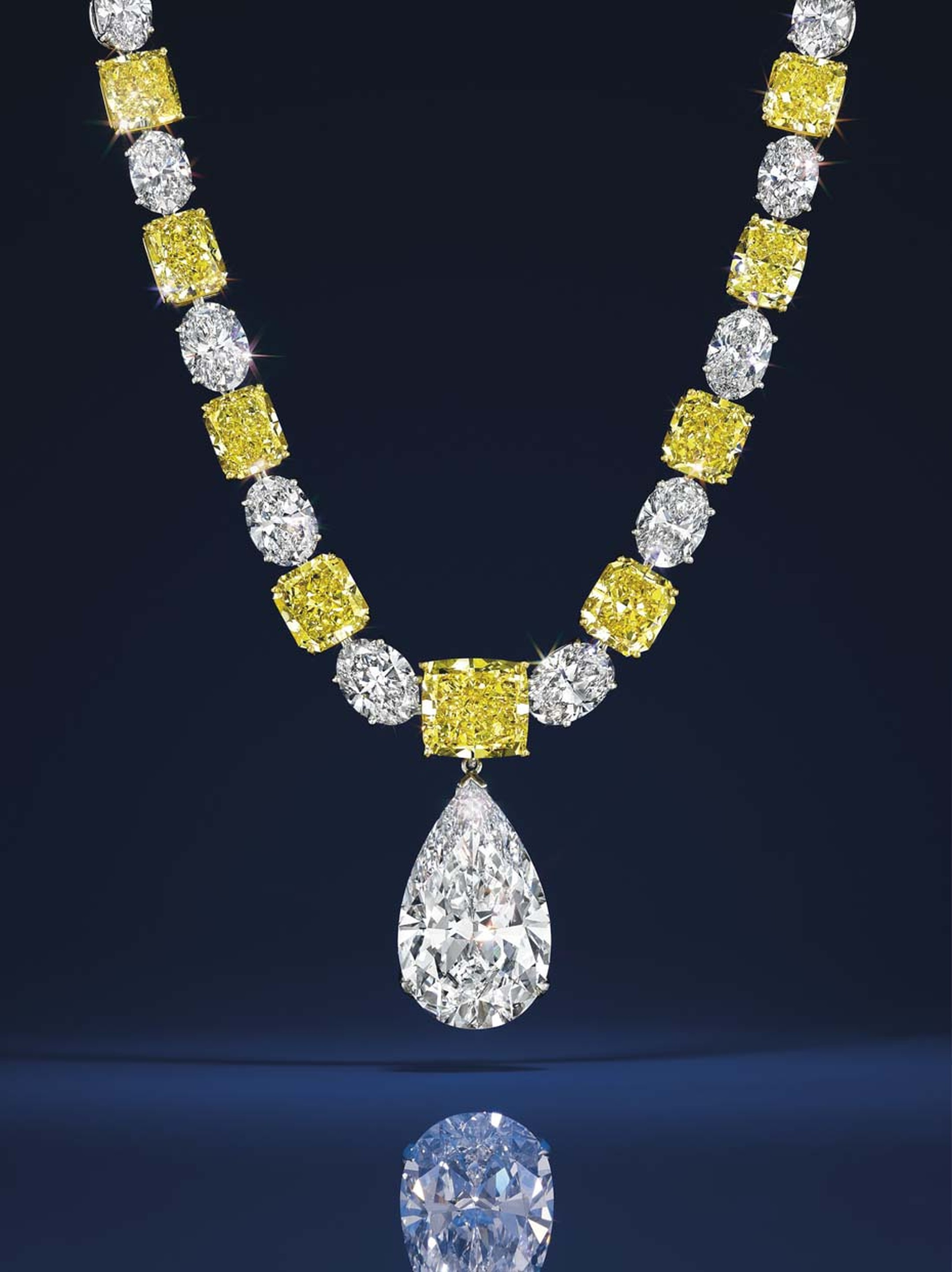 Graff white and yellow diamond necklace featuring a pear-shape diamond pendant of 25.49 carats. Estimate: $500-700,000.