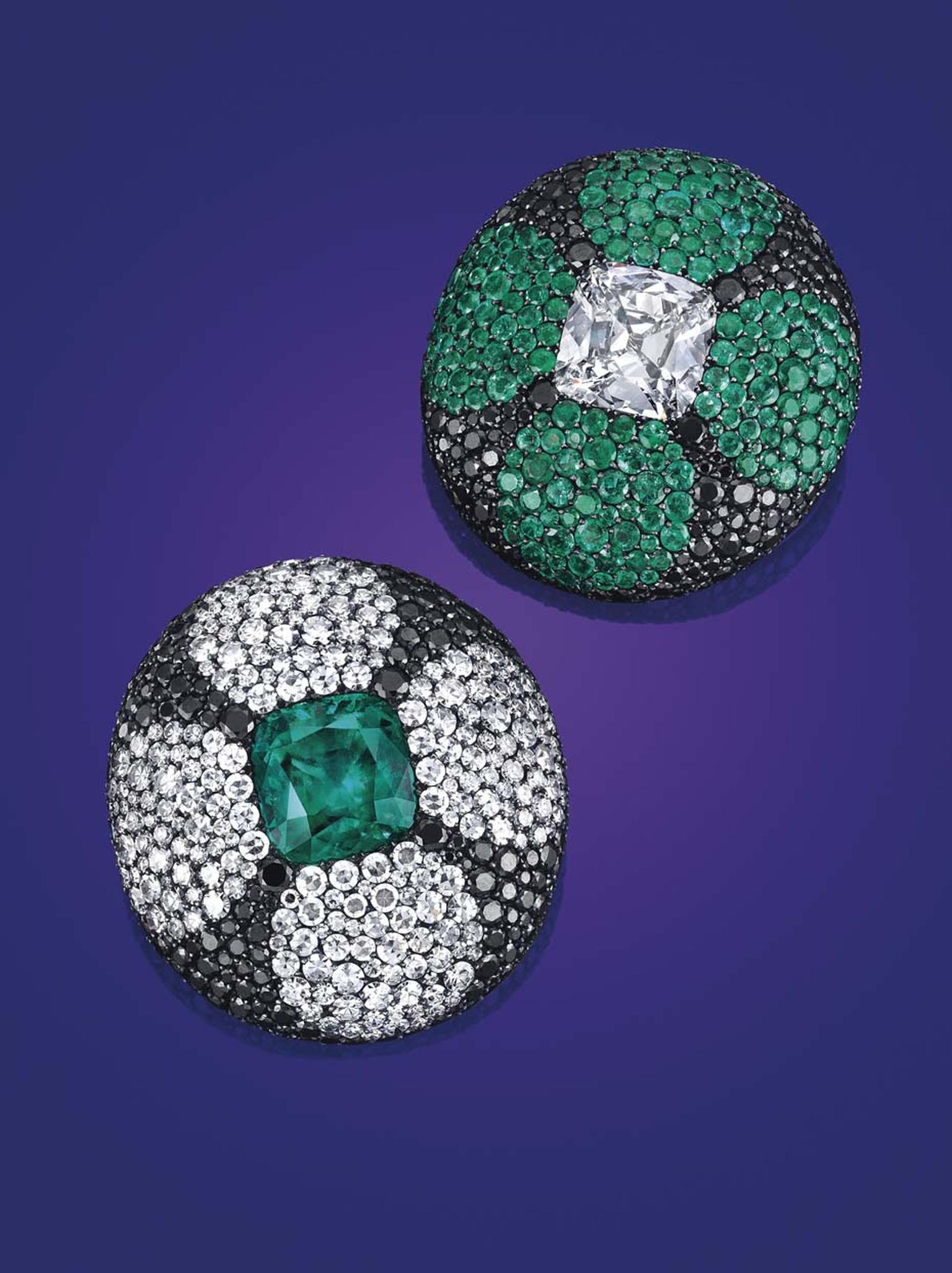 Among the many jewels from collectable jewelry houses to appear at Christie's New York auction of Magnificent Jewels were this pair of emerald, diamond and colored diamond ear clips by JAR, which sold for $845,000 - more than doubling its pre-sale estimat