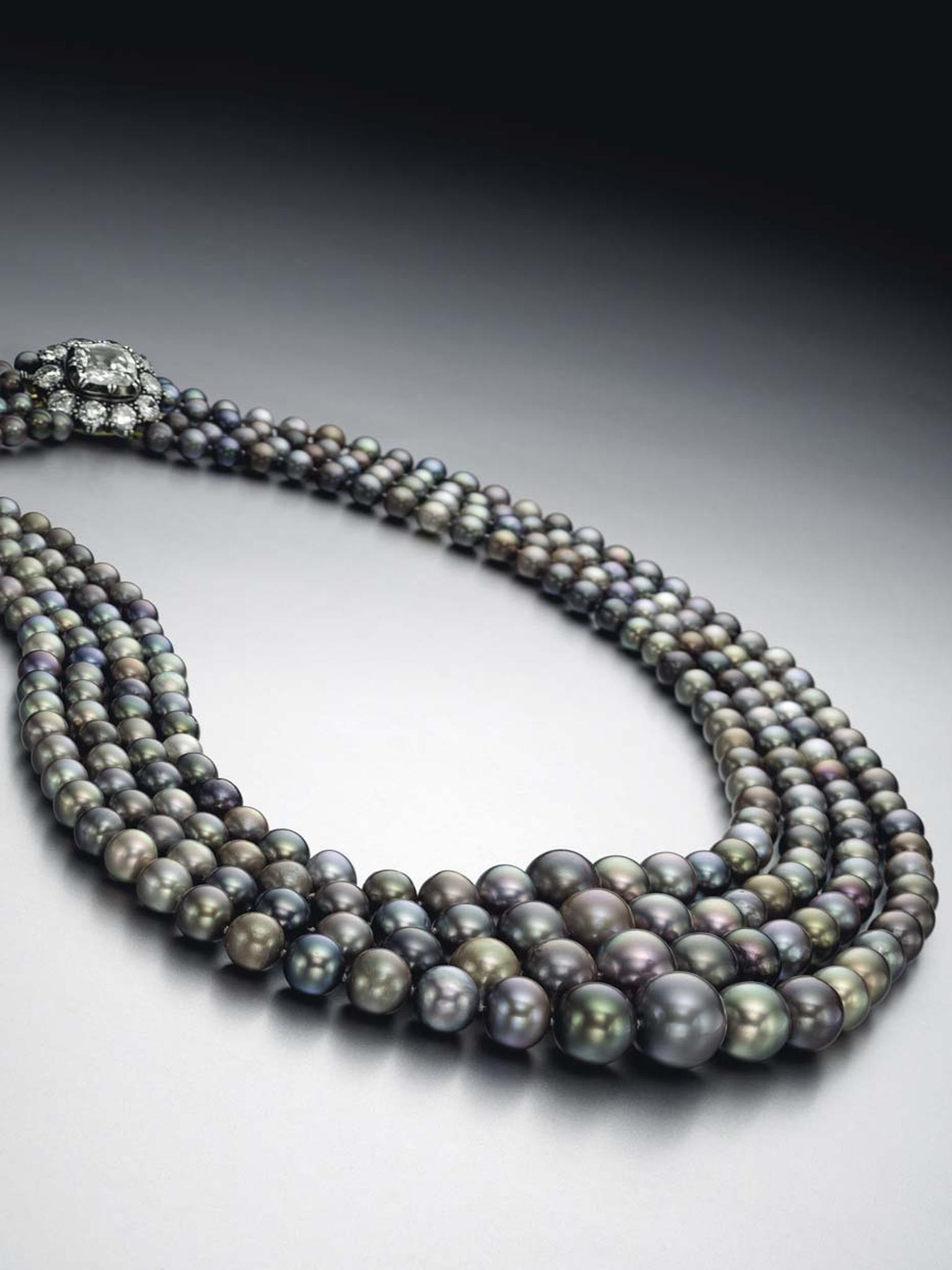 This four-strand natural pearl necklace, set with colored saltwater gems, set a new world record for a coloured pearl necklace , when it sold for just over $5 million at Christie's Magnificent Jewels sale in New York on April 14.