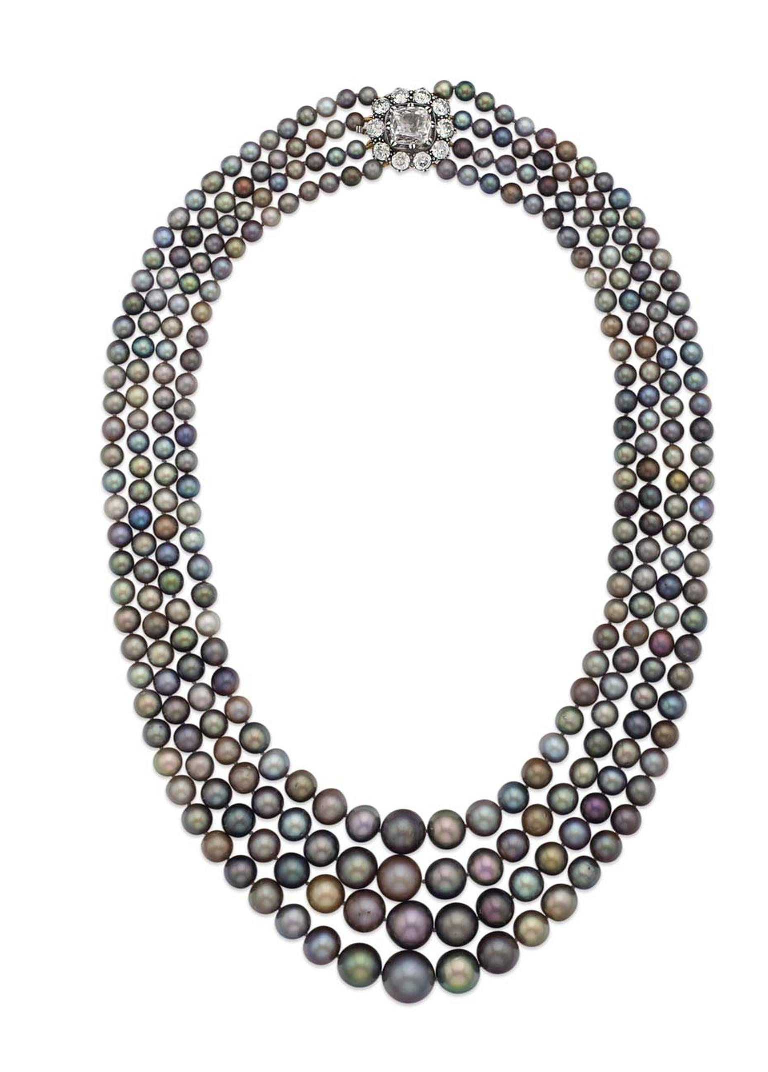 Strands of natural pearls matching in color and shape are exceedingly rare, and this four-strand necklace, the main attraction at Christie's NY Magnificent Jewels auction, comprises more than 289 black pearls with highly attractive rose, green or purple o