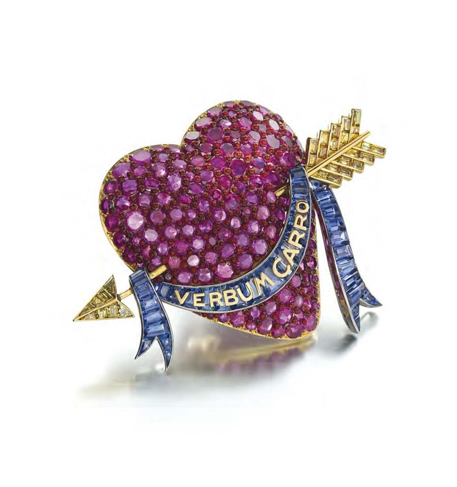 Paul Flato ruby, sapphire and colored diamond enamel brooch, designed and worn by Standard Oil heiress Millicent Rogers. Estimate: $350-500,000 at Christie's Magnificent Jewels auction in New York.