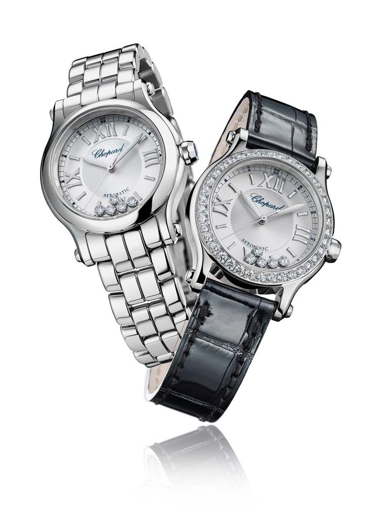 Chopard Happy Sport ladies' watches for 2015 show that you can have diamonds and fun at the same time in these new 30mm combinations with automatic movements housed in rugged stainless steel cases.