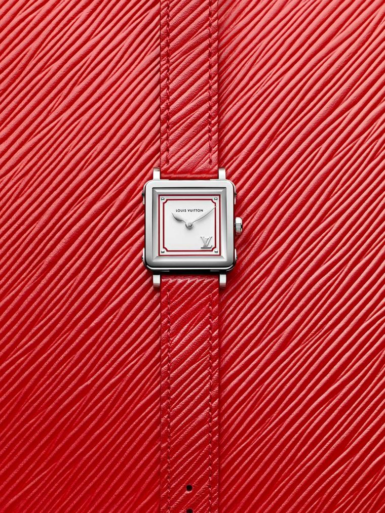 Louis Vuitton Emprise Epi Poppy watch comes in a 23 x 23mm steel case and the leather strap features the colour palette of the upcoming Louis Vuitton leather goods collection designed by Nicolas Ghesquière for Summer 2015.