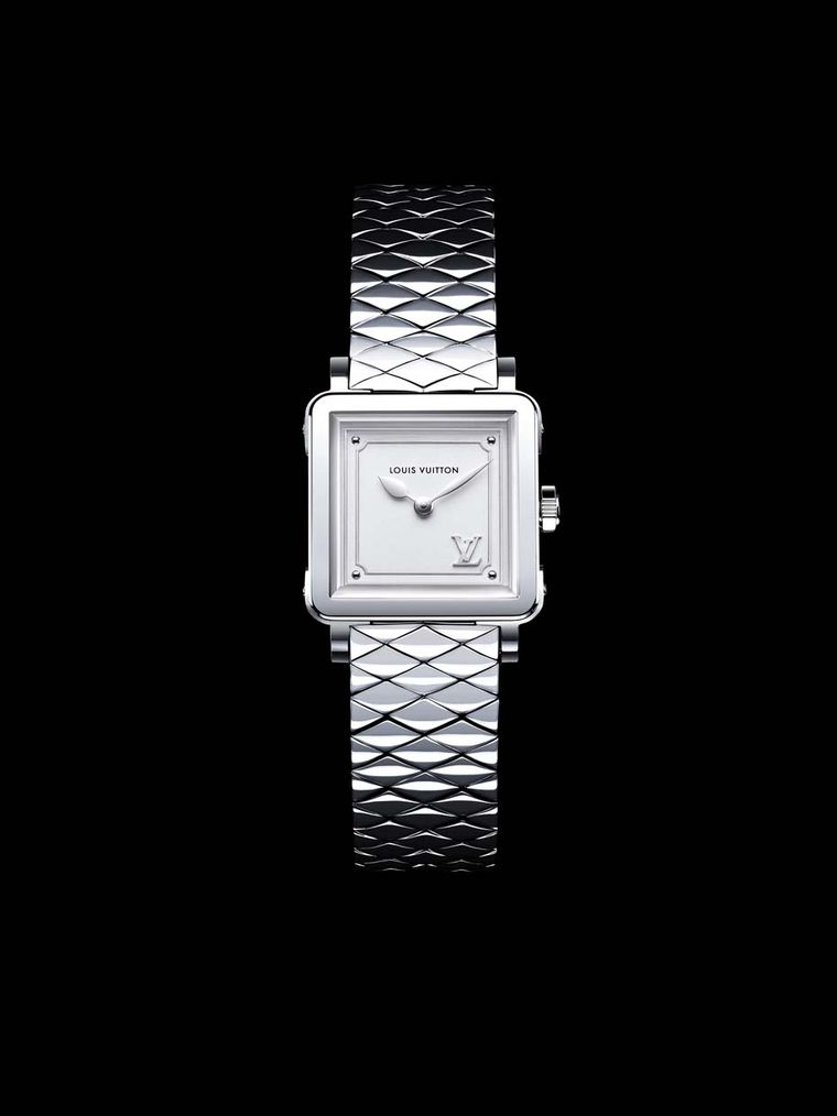 Louis Vuitton Emprise Malletage Steel ladies' watch echoes the padded lining of the iconic Louis Vuitton steamer trunks represented by the domed oval links on the steel bracelet.