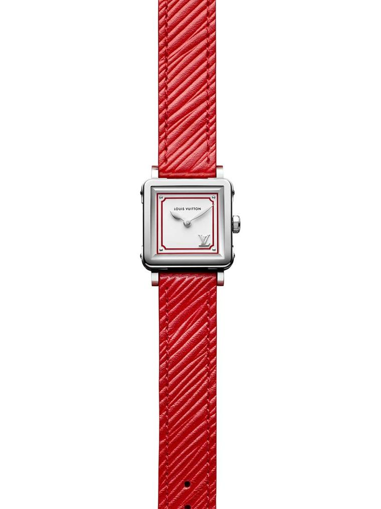 Louis Vuitton's new Emprise Epi watch - directly inspired by the famous steamer trunks - has had a revamp thanks to Nicolas Ghesquière, inspired by his Summer 2015 leather goods collection. This poppy red version has a steel case, silver opaline dial and