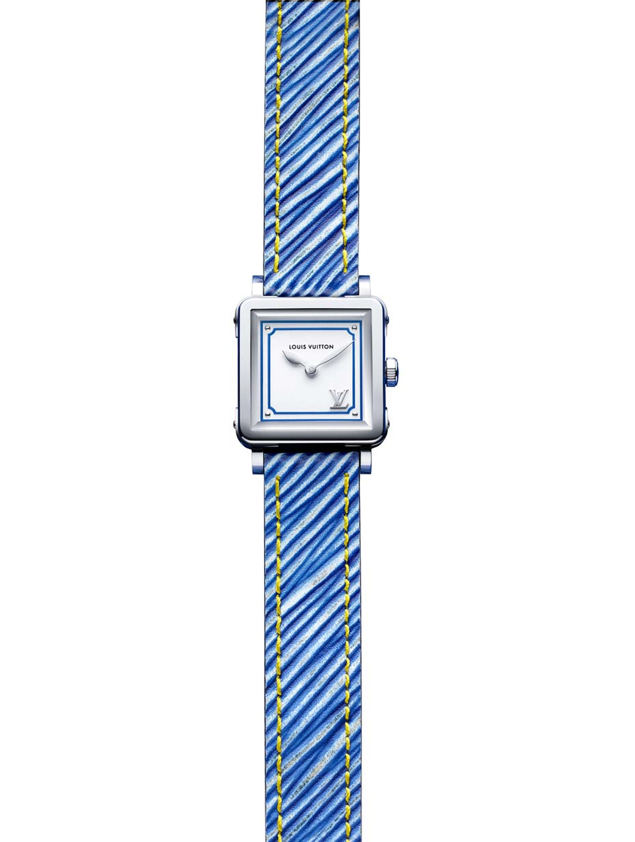 Flashes of colour frame the dial of the new Louis Vuitton Emprise Epi ladies' watch. In this denim blue version, the steel case and silver opaline dial are complemented by an Epi leather strap with yellow overstitching.