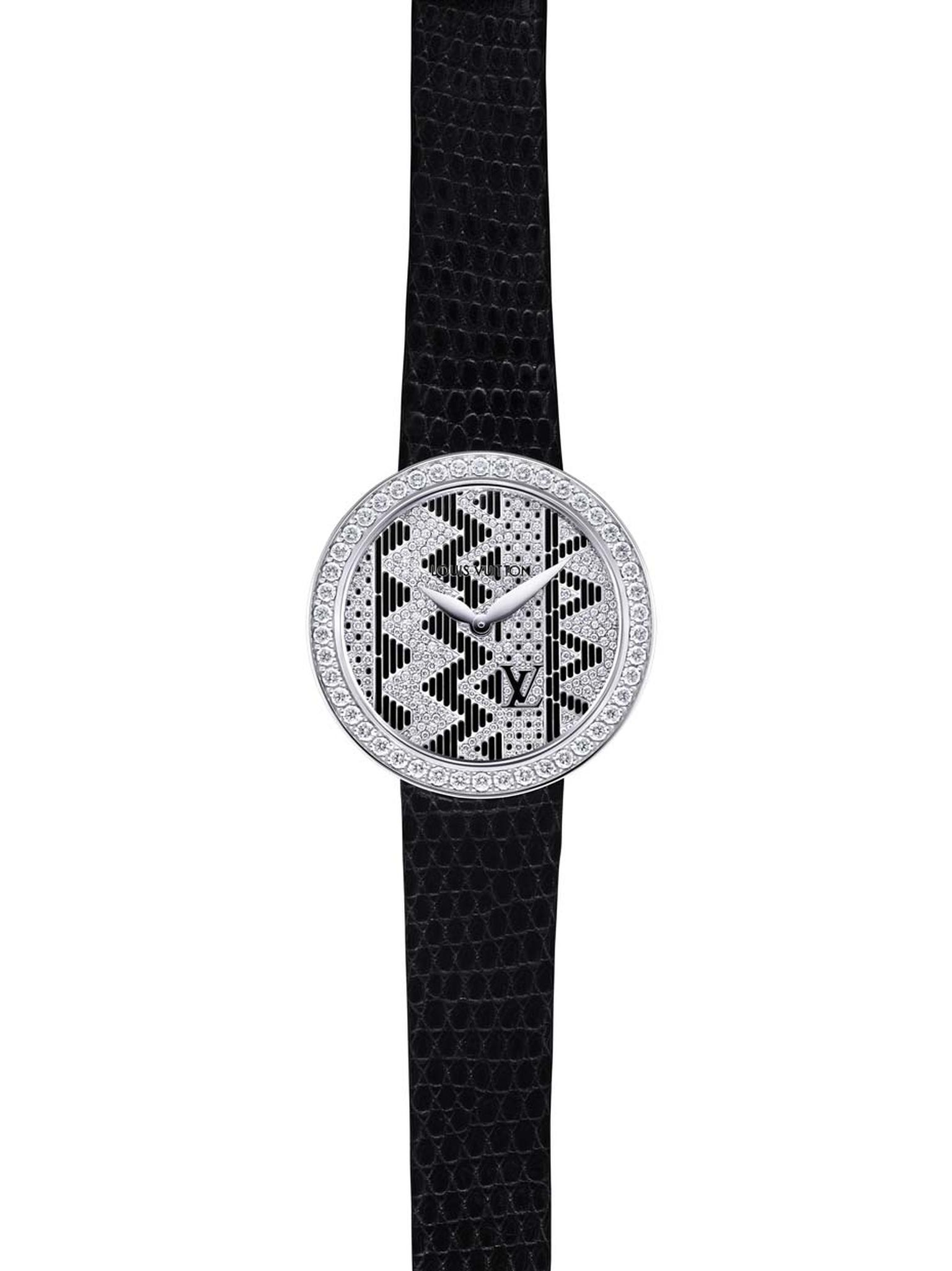 The new Louis Vuitton Chevron jewellery watch continues the Aztec theme seen in Nicolas Ghesquière's Summer 2015 collection. This black lacquer version has a rhodium-plated white gold case, bezel set with 46 diamonds, and a black lizard strap.