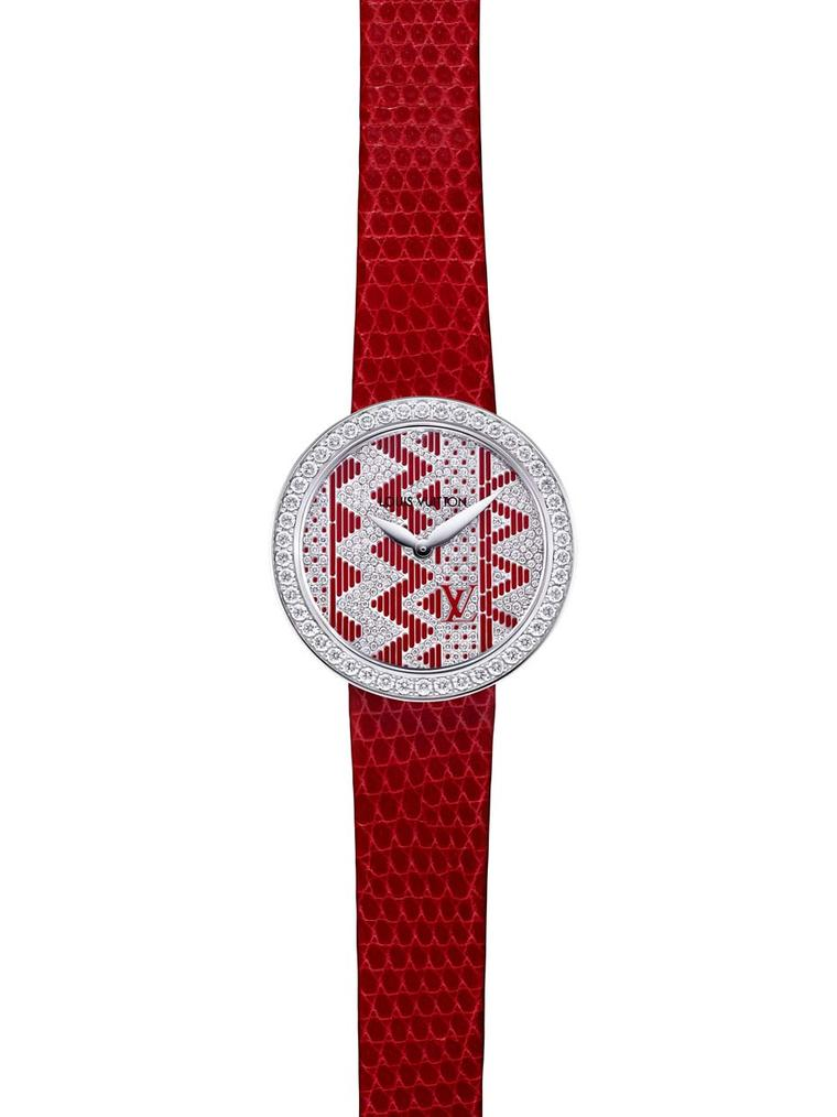 Each of the new Louis Vuitton Joaillerie Chevron watches is hand painted at Vuitton's La Fabrique du Temps workshop in Geneva. This red lacquer version has a rhodium-plated white gold case, a dial set with 222 diamonds and a red lizard strap.