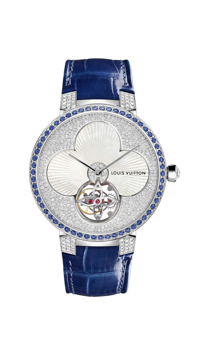 Louis Vuitton Tambour Monogram Sun Tourbillon in sapphire blue
