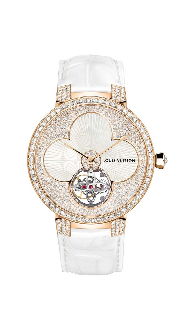 Louis Vuitton Tambour Monogram Sun Tourbillon in white