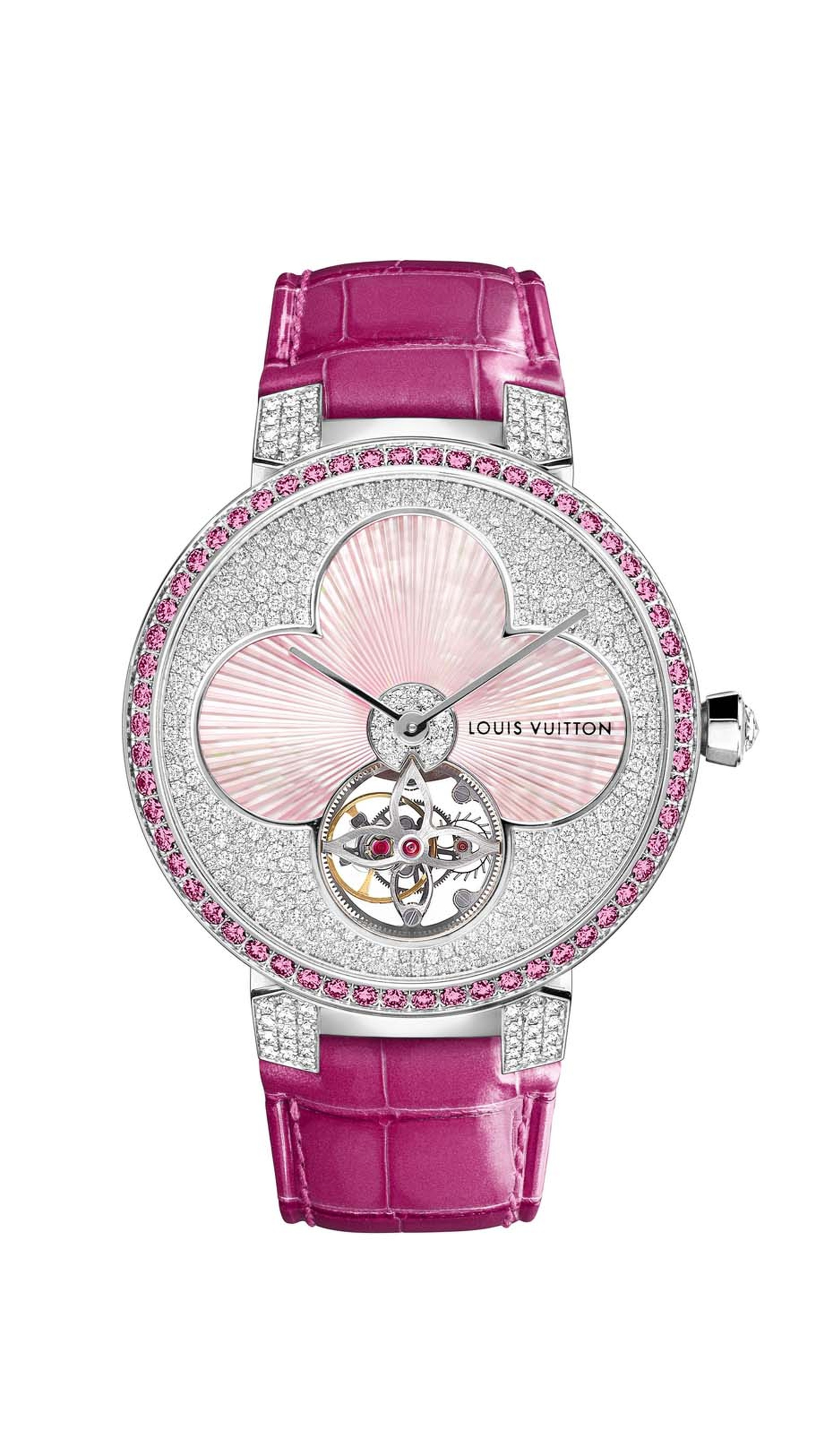Louis Vuitton's new Tambour Monogram Sun Tourbillon ladies' watches come in a choice of three colours. In the rose version, the mother-of-pearl flower, snow set with diamonds, is surrounded by a ring of pink sapphires and finished with a fuchsia alligator