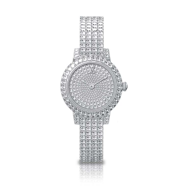 Louis Vuitton Tambour Monogram Bijou Riviere watch is the shining star of the new collection. With 212 diamonds on the dial and a further 463 diamonds on the bracelet, it provides high-voltage sparkle for the wrist.