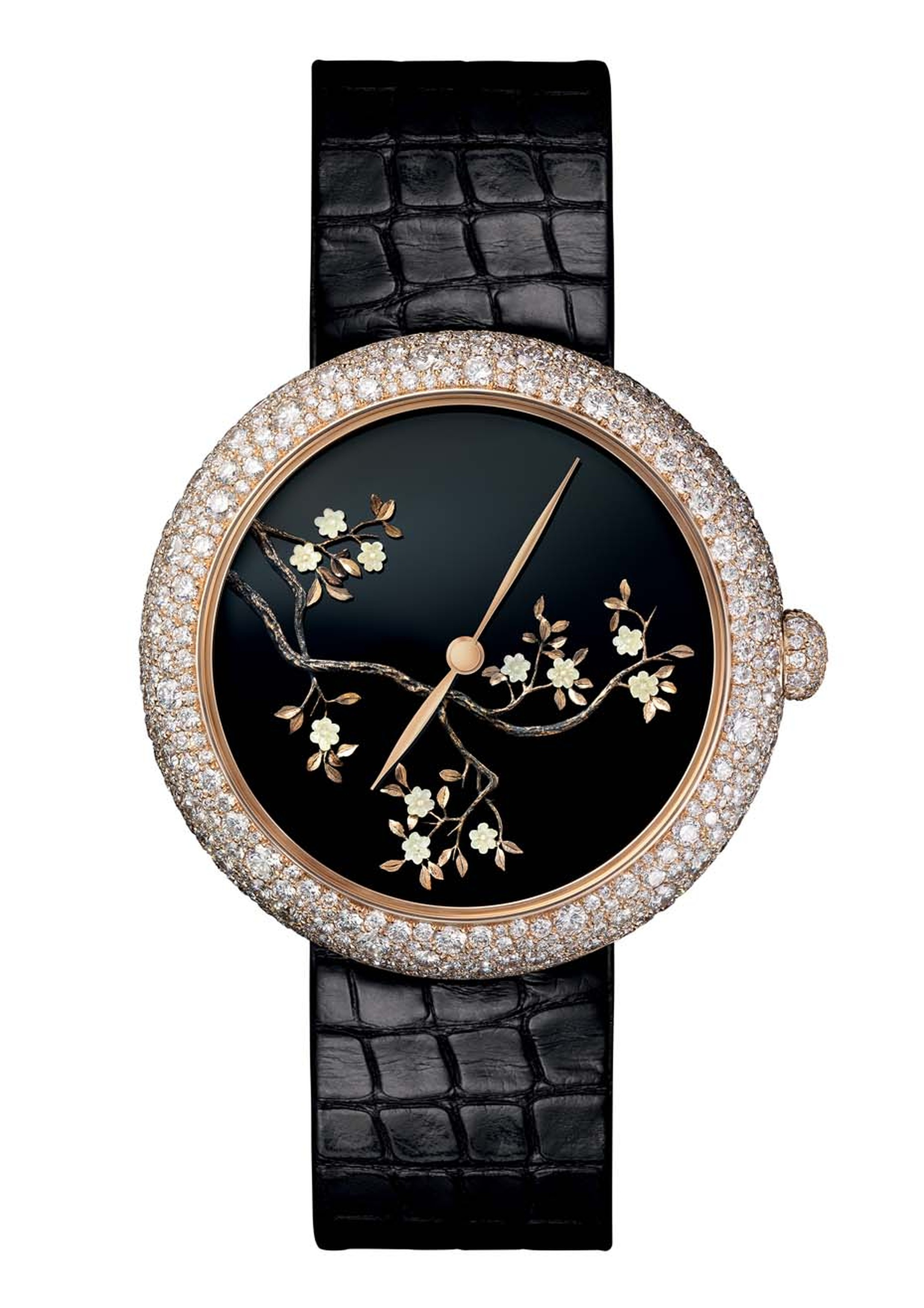Chanel watches brings yet more insight into the personal spaces of Coco Chanel with this beige gold Coromandel inspired Mademoiselle Privé Décor ladies' watch featuring a floral motif, similar to those adorning the Chinese screens that graced the designer