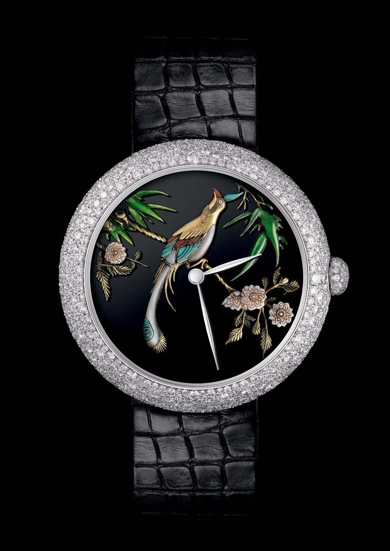 Also launching at Baselworld 2015 is this exquisite Coromandel inspired Mademoiselle Privé Décor ladies' watch in white gold from Chanel. Illustrating Coco Chanel's love of Chinese screens and interior design, the precious 37mm watch features a bird on th