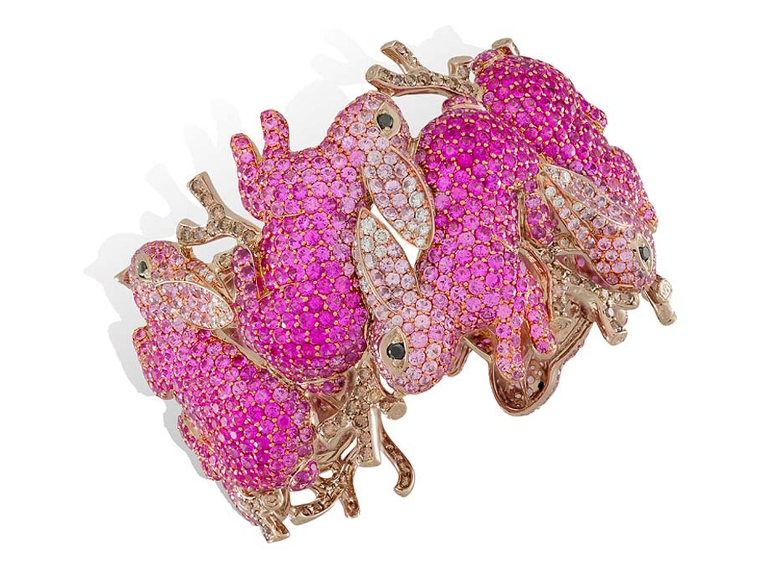 Lydia Courteille pink tourmaline and pink sapphire fine jewellery bracelet from the Lapin Rose collection.