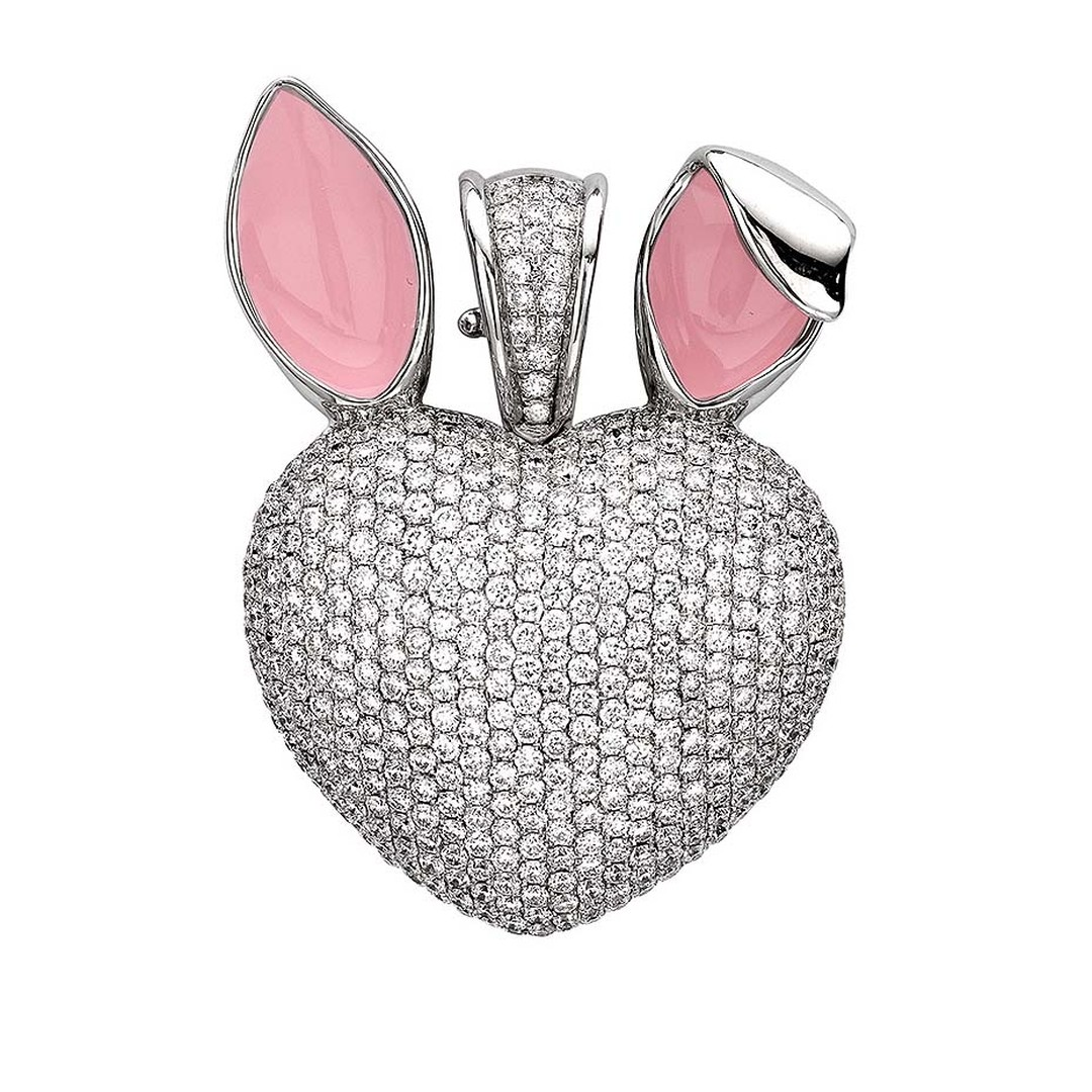 Theo Fennell fine jewellery, white gold, pavé diamond, and pink enamel bunny art pendant.