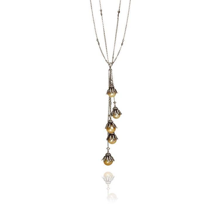 Annoushka fine jewellery necklace from the Golden Pearls collection is reminiscent of the glamorous Twenties with golden South Sea pearls and diamonds set in black rhodium over 18ct white gold.