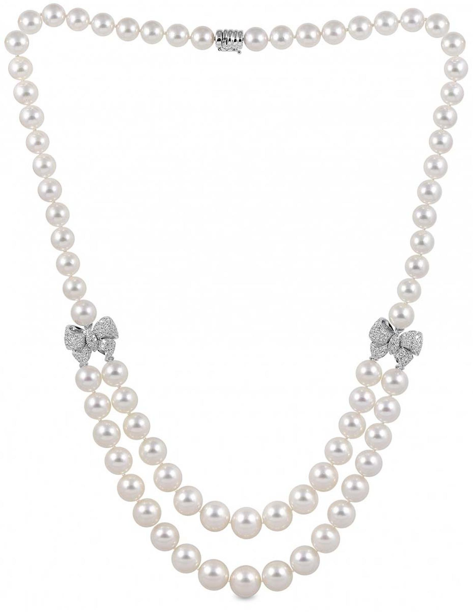 YOKO London jewellery white gold necklace with diamonds and South Sea pearls ranging in size from 9-13mm.