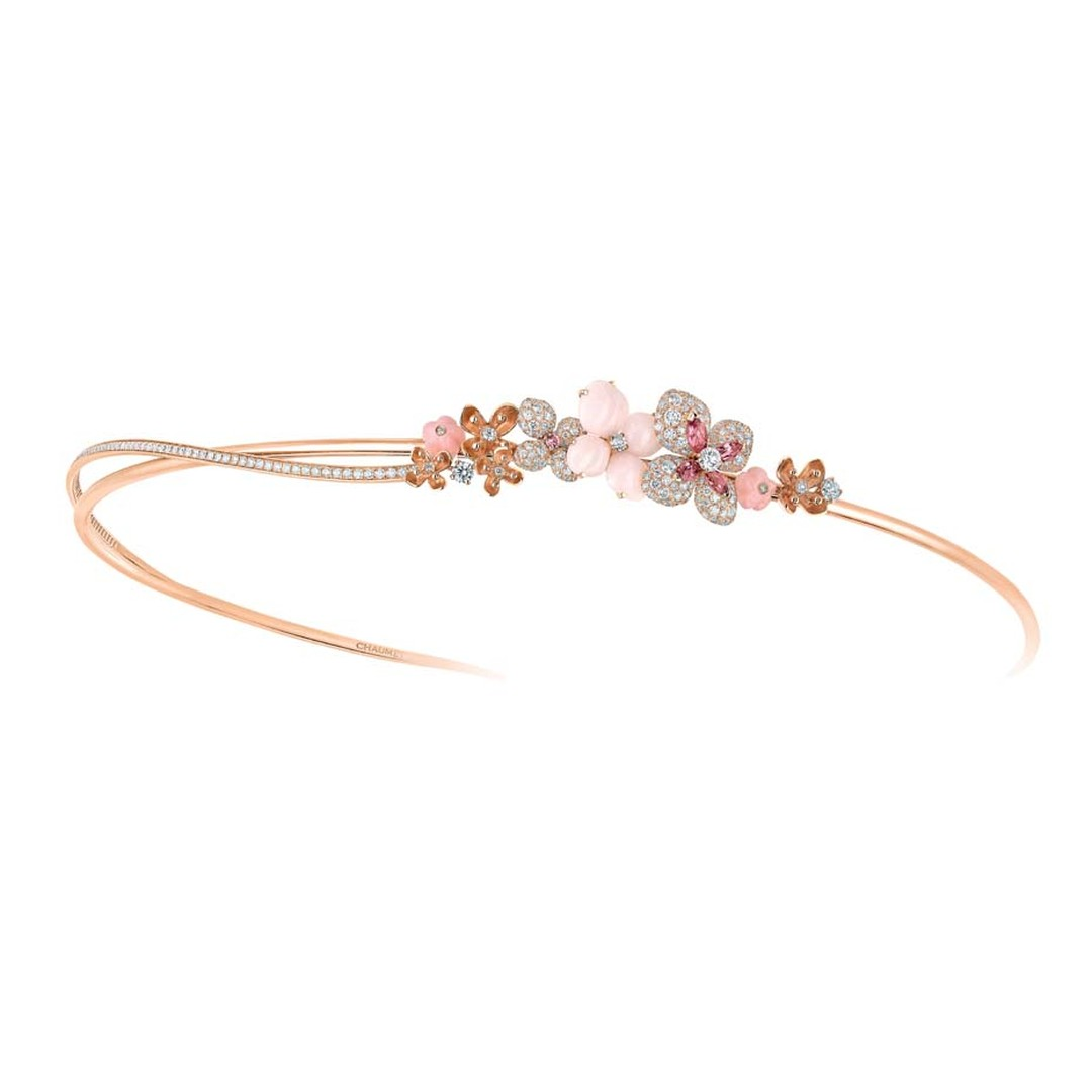 Chaumet tiara from the Hortensia fine jewellery collection in rose gold set with angel-skin and pink opal, marquise-cut tourmalines, a brilliant-cut pink sapphire, and brilliant-cut diamonds.