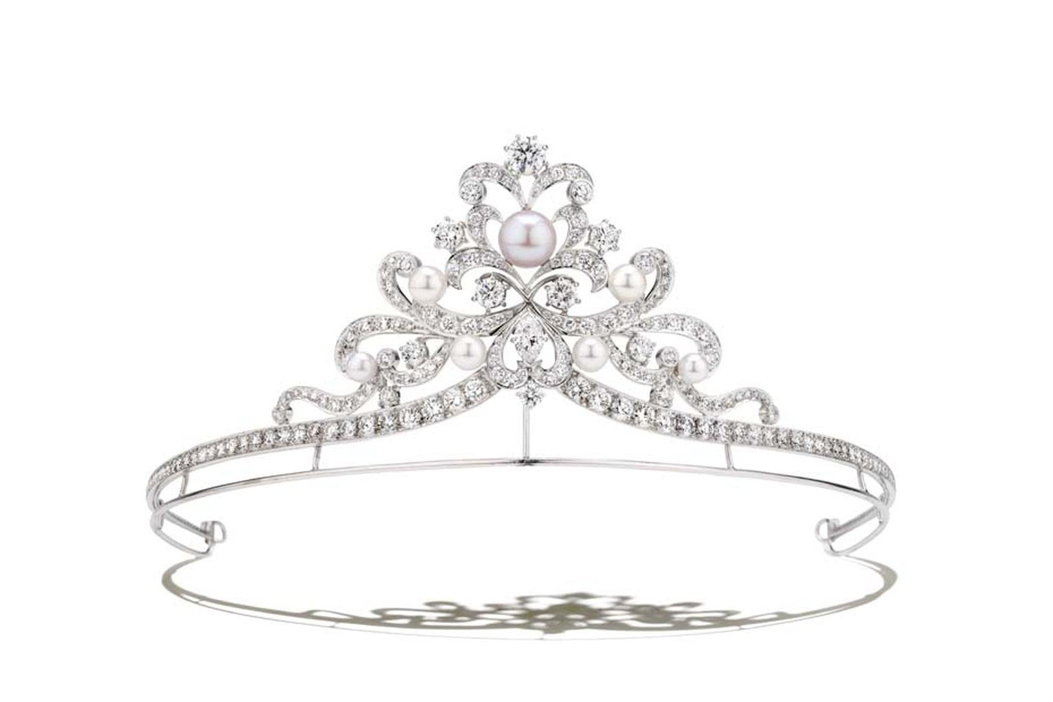 Pearl and diamond princess-style tiara from Garrard jewellery's new Bow collection.