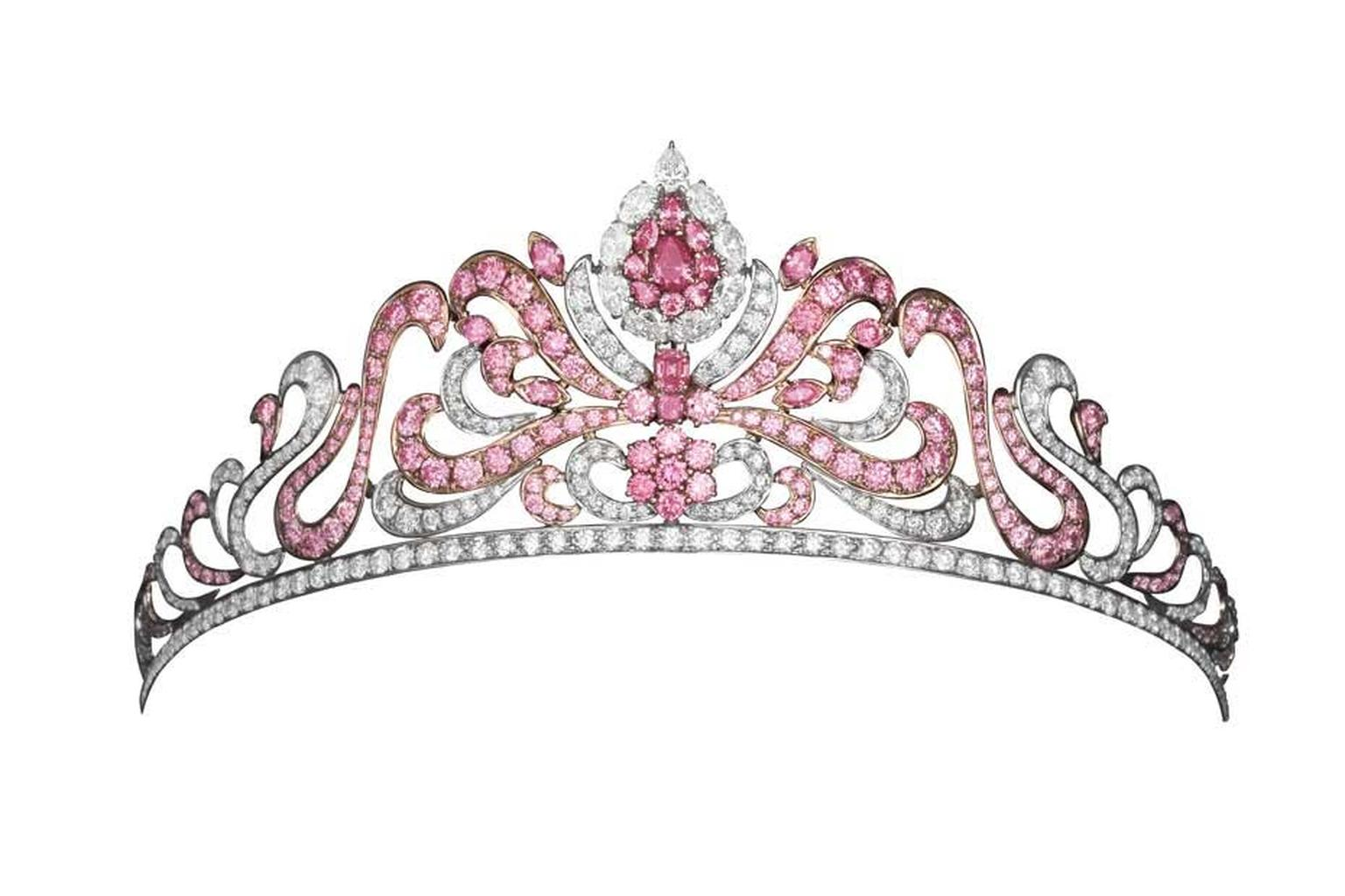 Pink Diamond tiara, created by Asprey jewellery and bought by Linneys for $2 million in 2012, is a truly unique piece set with 20.00cts of pink diamonds from the soon to be depleted Argyle mine in Australia.