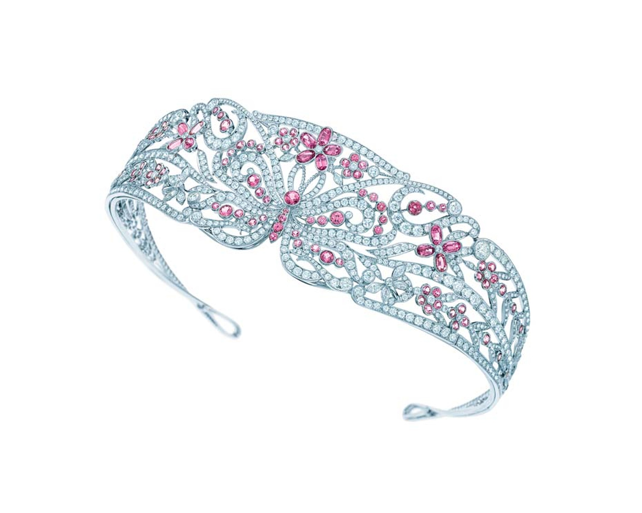 Tiffany & Co. tiara from the high jewellery Blue Book collection with a butterfly motif crafted from platinum, pink spinels and more than 20.00cts of white diamonds.