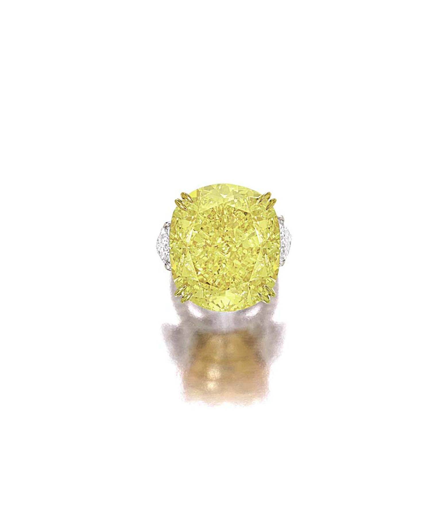 Sotheby's Hong Kong Magnificent Jewels and Jadeite spring sale includes a 77.77ct VS2 Fancy Vivid Yellow Diamond Ring (lot 1897) with an estimate of US$6.8m-7.5m.