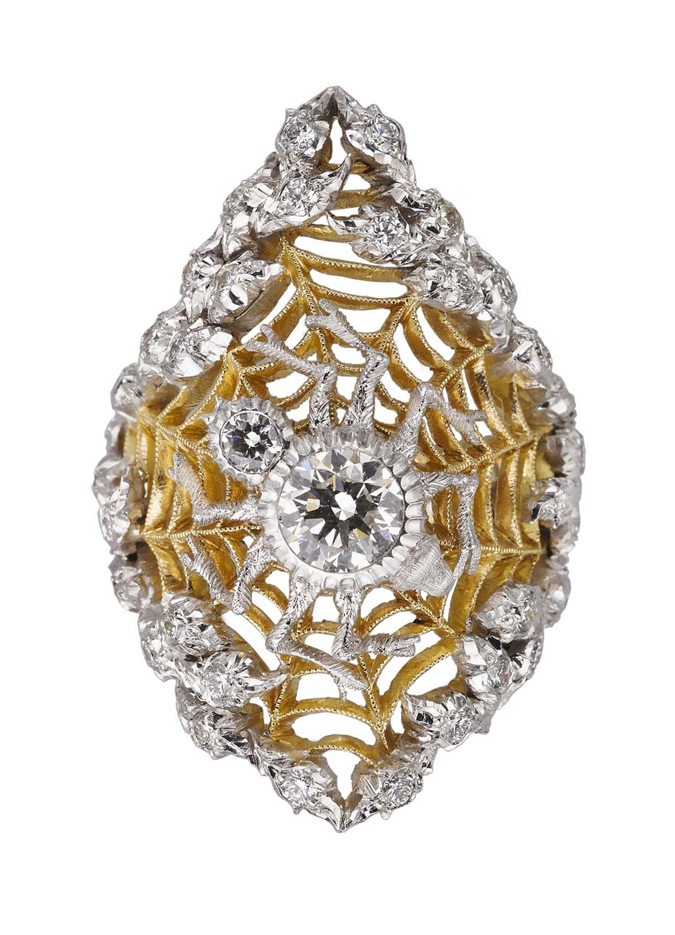 The impressive white gold spider on top of Buccellati's new honeycomb technique ring, with its diamond body and legs, was inspired by Larionov's unique avant-garde painting.