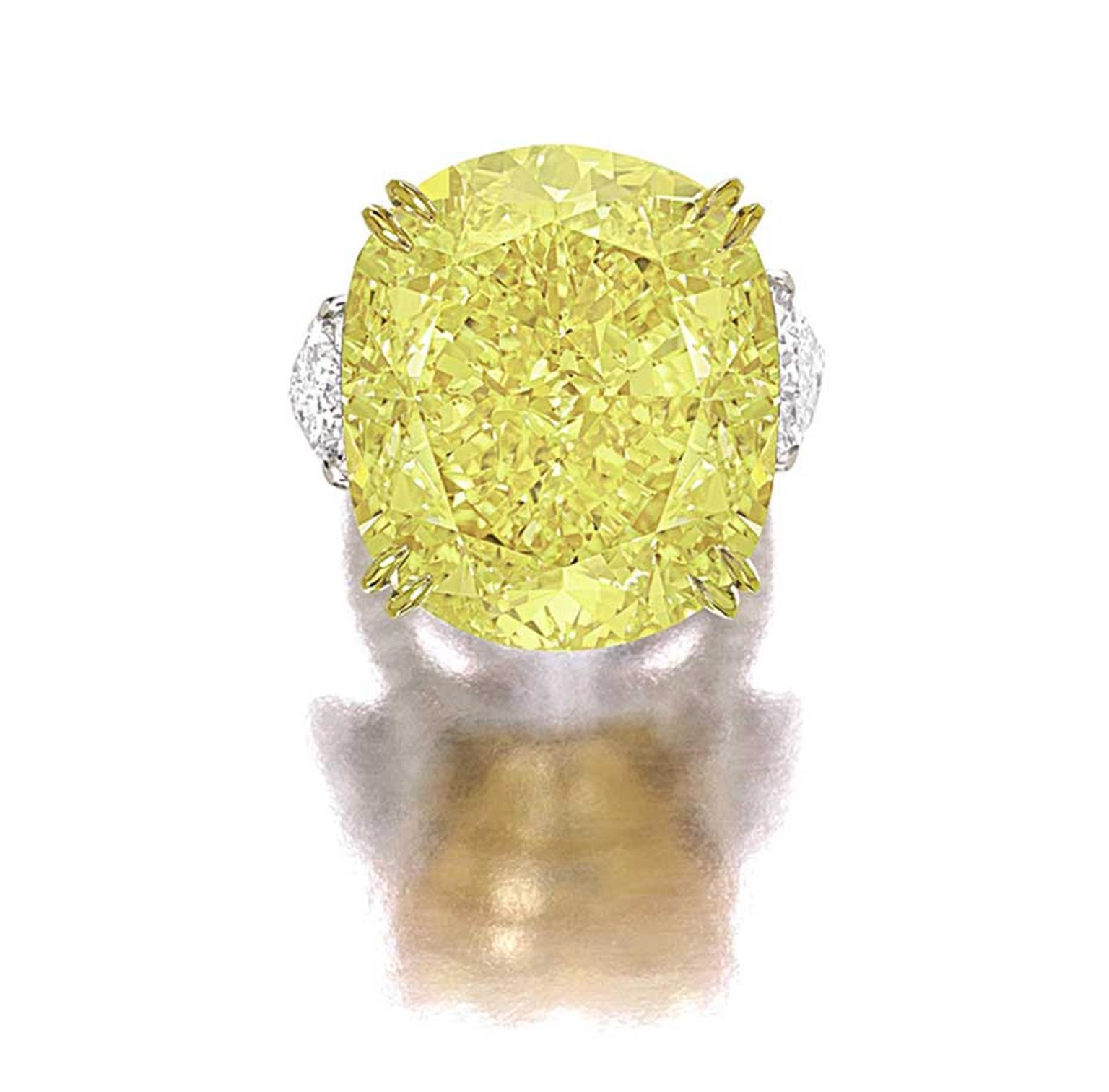 The top lot at Sotheby's Hong Kong Magnificent Jewels and Jadeite spring sale is a 77.77ct VS2 Fancy Vivid yellow diamond ring with an estimate of US$6.8m-7.5m.