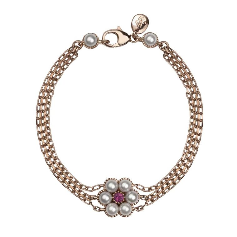 Rose gold, Akoya pearl and ruby bracelet from Stephen Einhorn's new Posey collection, inspired by the ring worn by Cate Blanchett in Disney's remake of Cinderella (£1,427).