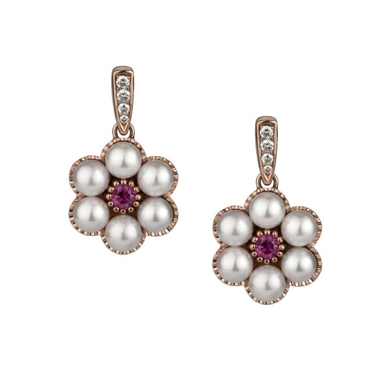 Rose gold, Akoya pearl and ruby earrings from Stephen Einhorn's Cinderella-inspired Posey collection (£1,743).