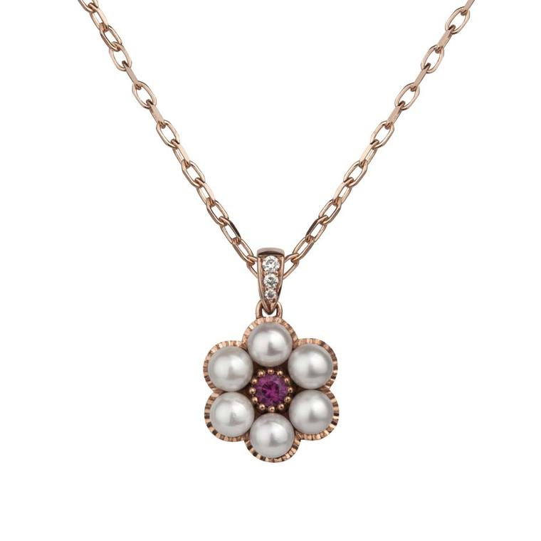 Stephen Einhorn rose gold, Akoya pearl and ruby pendant necklace, from the new Posey collection (£1,361).