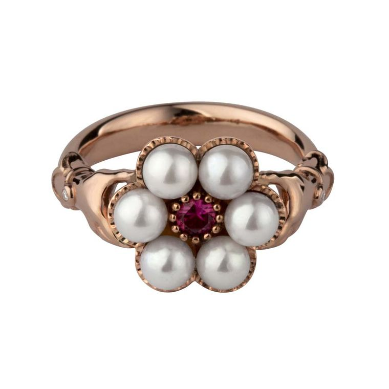 Stephen Einhorn pink gold, Akoya pearl and ruby ring from the new Posey collection (£1,820).