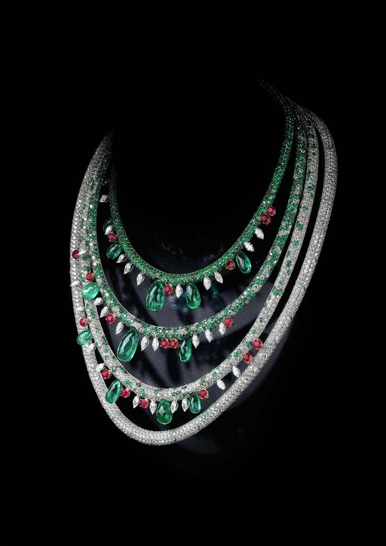 de GRISOGONO necklace from the 2015 high jewellery collection launched at Baselworld 2015, set with briolette-cut emeralds totalling 89.63ct, round-cut rubies, marquise-cut diamonds, emeralds and diamonds.
