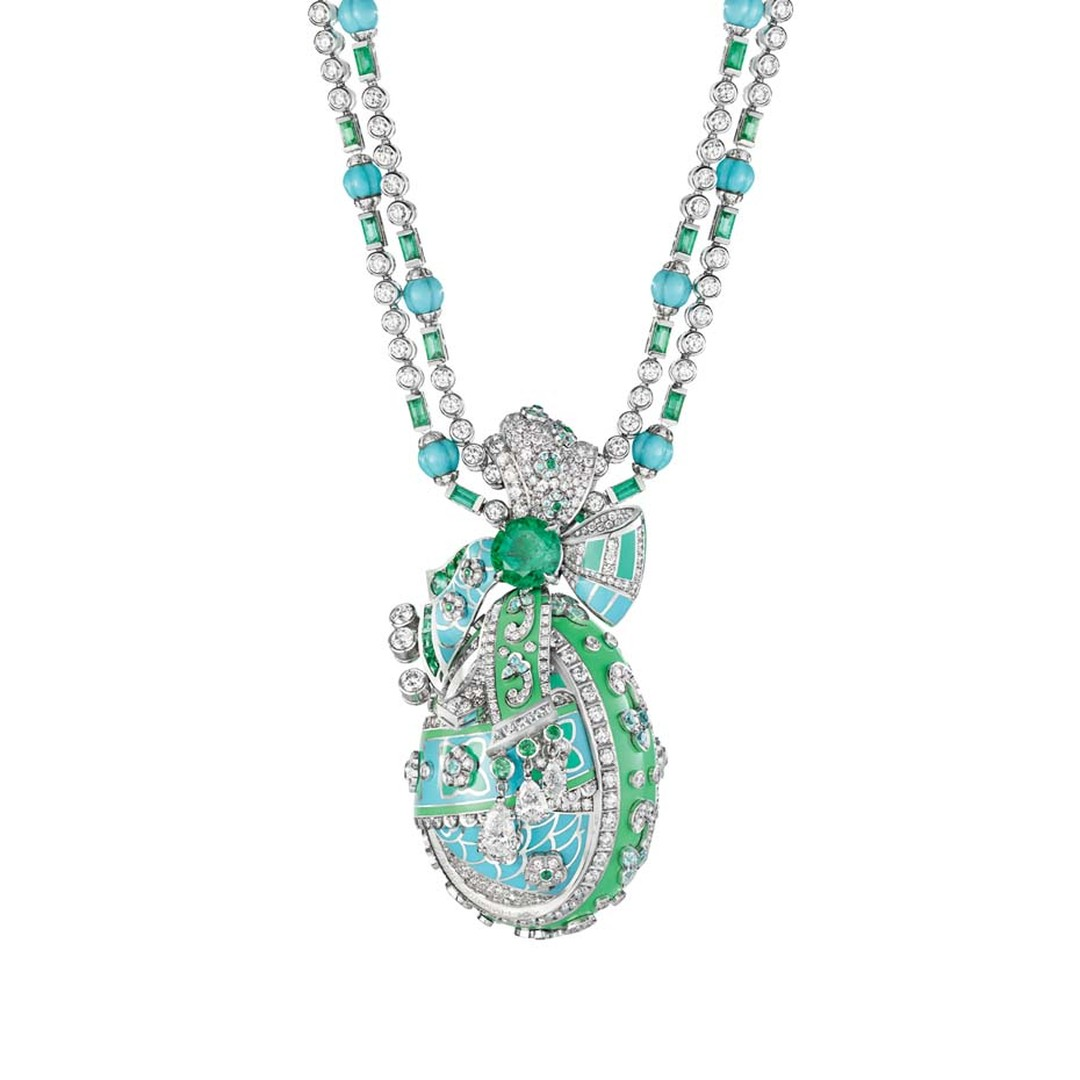 Fabergé necklace from the Summer in Provence high jewellery collection, set with emeralds, turquoise beads and diamonds, holding a detachable Fabergé egg embellished with floral motifs.