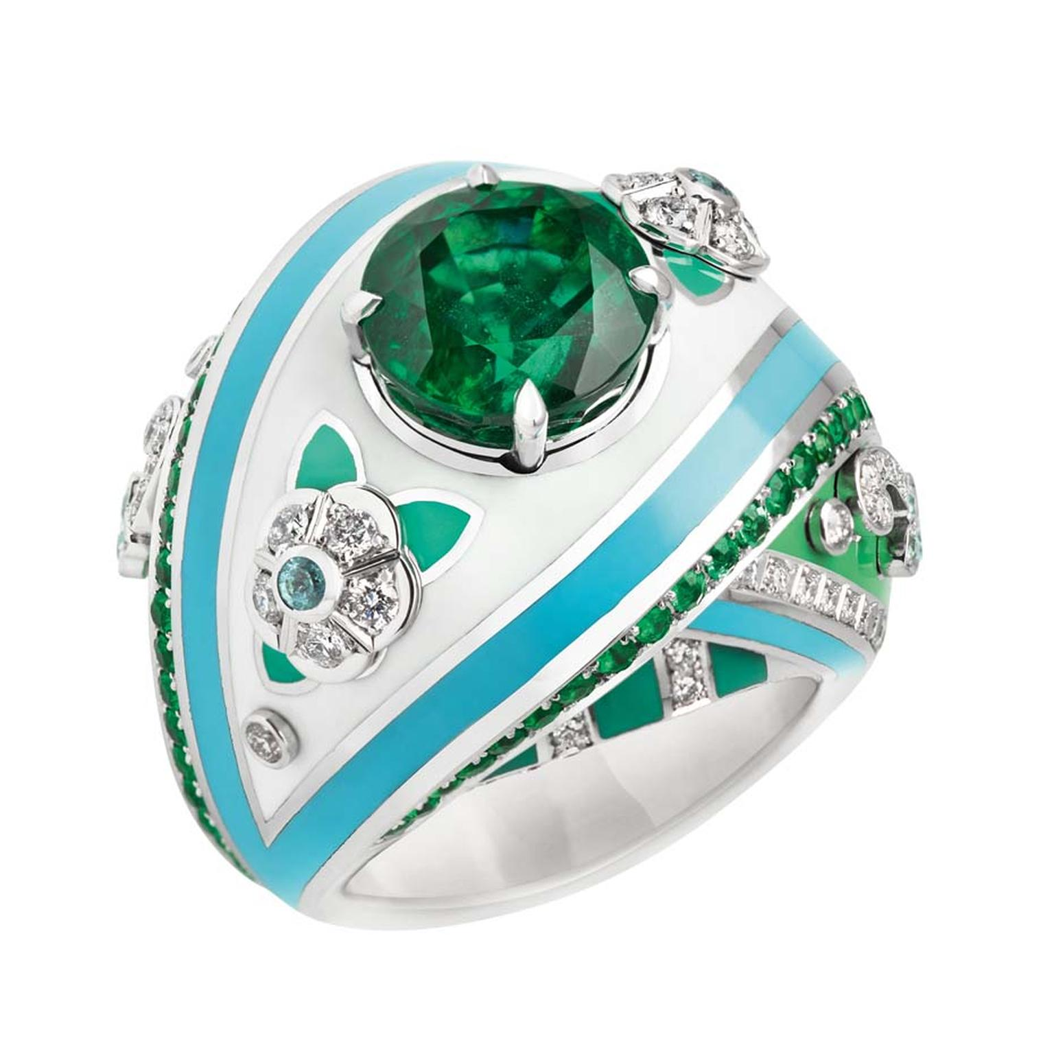 Fabergé ring from the Summer in Provence high jewellery collection, set with emeralds and diamonds and decorated with enamel.