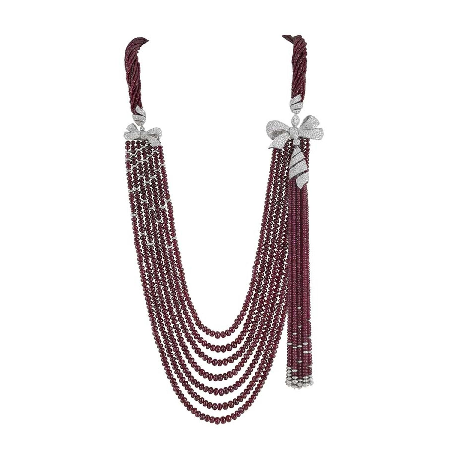 Garrard necklace from the new Bow collection launched at Baselworld 2015. At the heart of the collection sits this spectacular high jewellery ruby bead and diamond necklace.