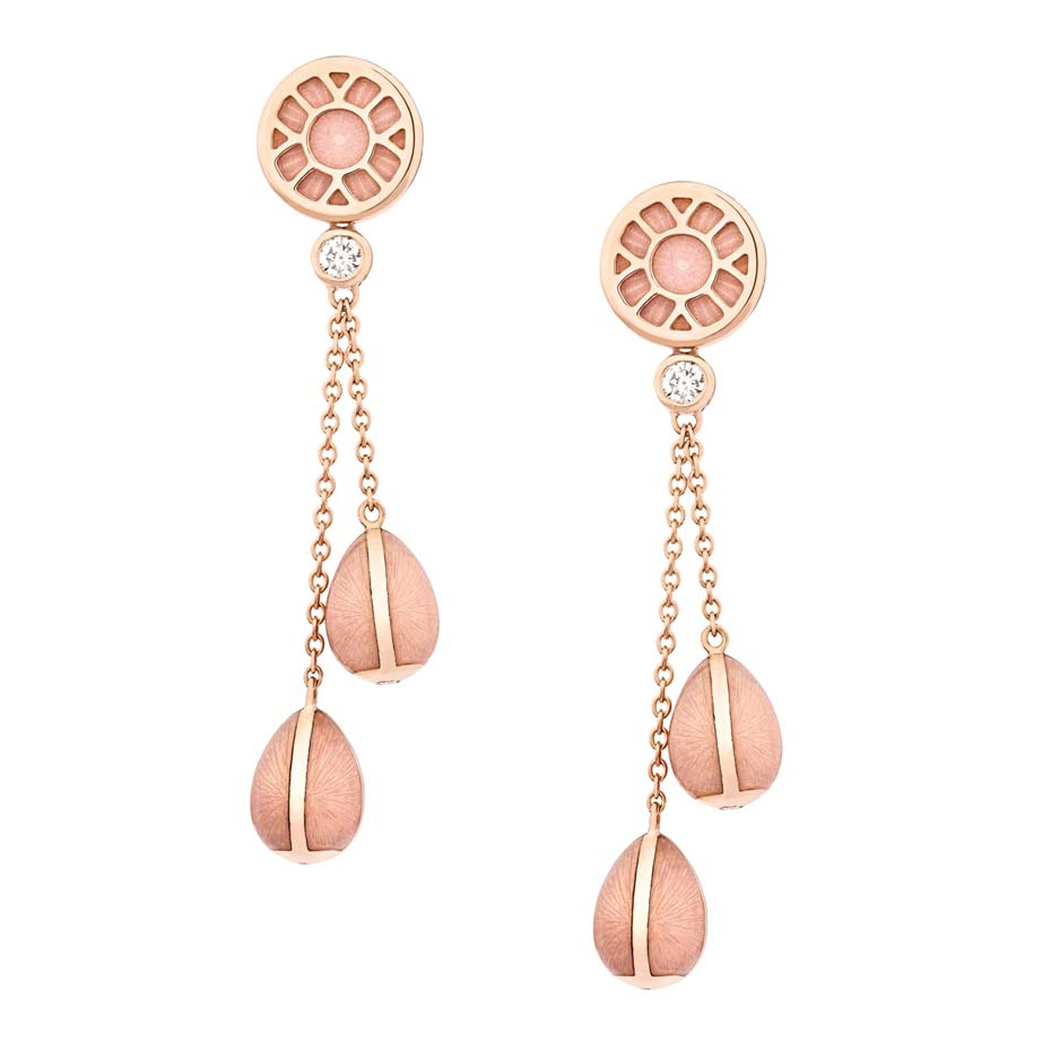 Fabergé draws inspiration from its original high jewellery masterpieces for its Heritage collection, which includes this pair of rose gold drop earrings, featuring a duo of Fabergé eggs on each earring.