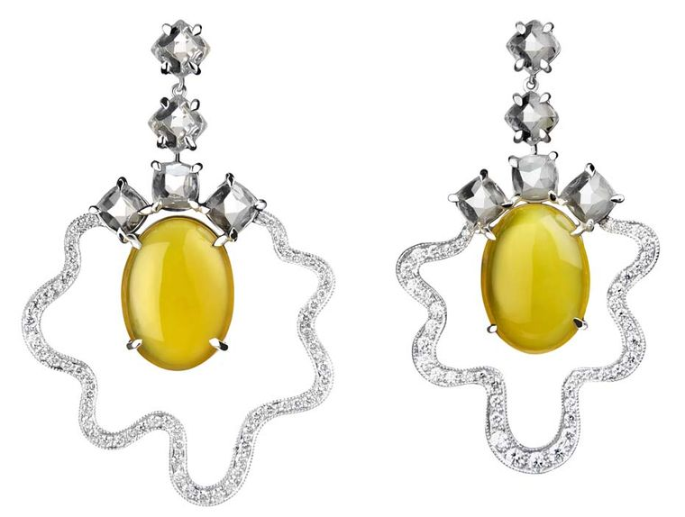 Tessa Packard white gold and diamond Fried Egg earrings