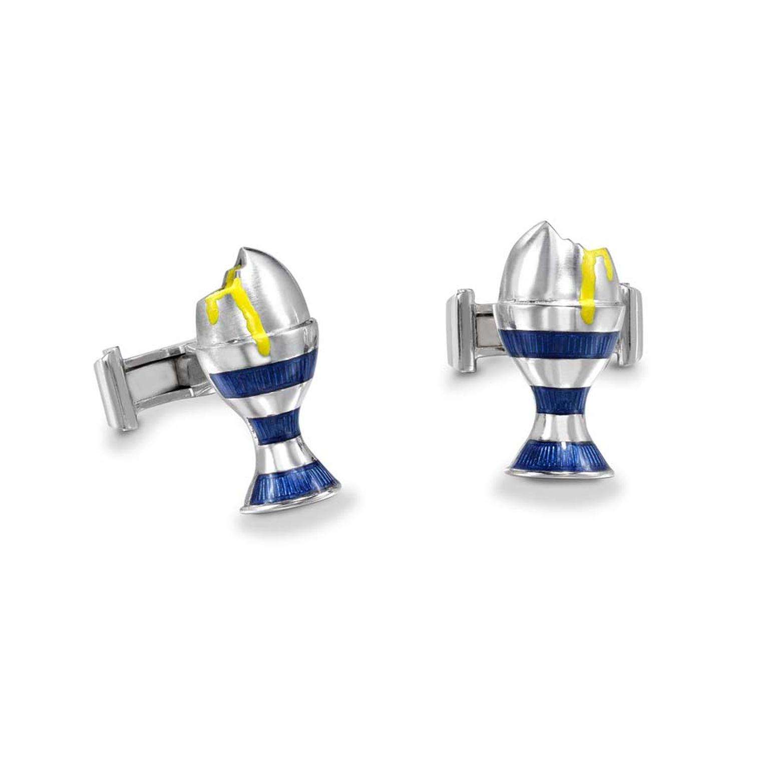 Theo Fennell's 18ct white gold and enamelled blue striped boiled egg cufflinks are truly original and a great egg alternative this Easter.