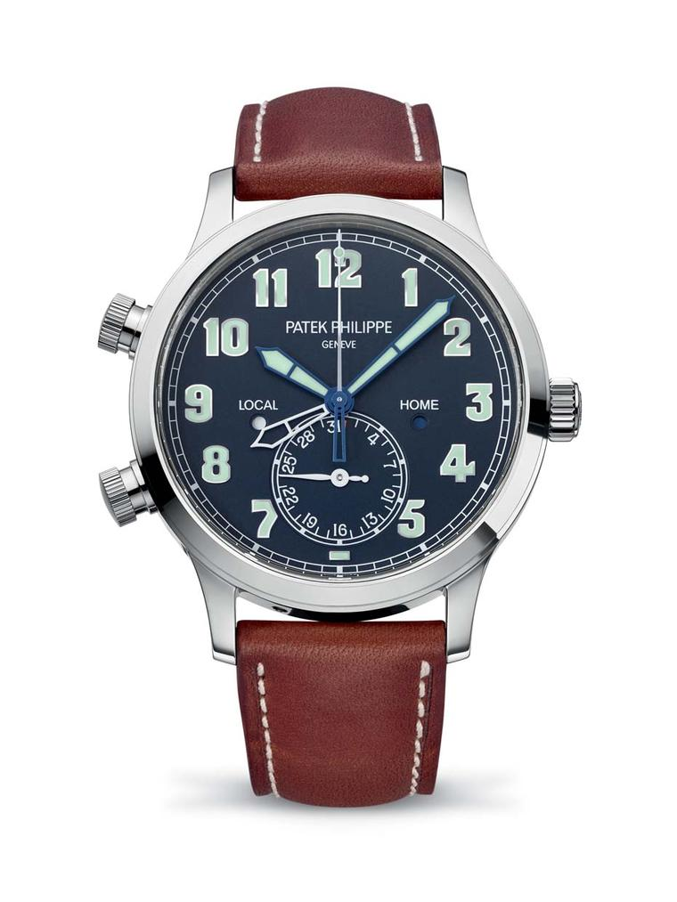Patek Philippe Calatrava Pilot Travel Time Ref. 5524, a vintage-inspired aviator men's watch, led the line-up of Patek Philippe watches launched at Baselworld this year.