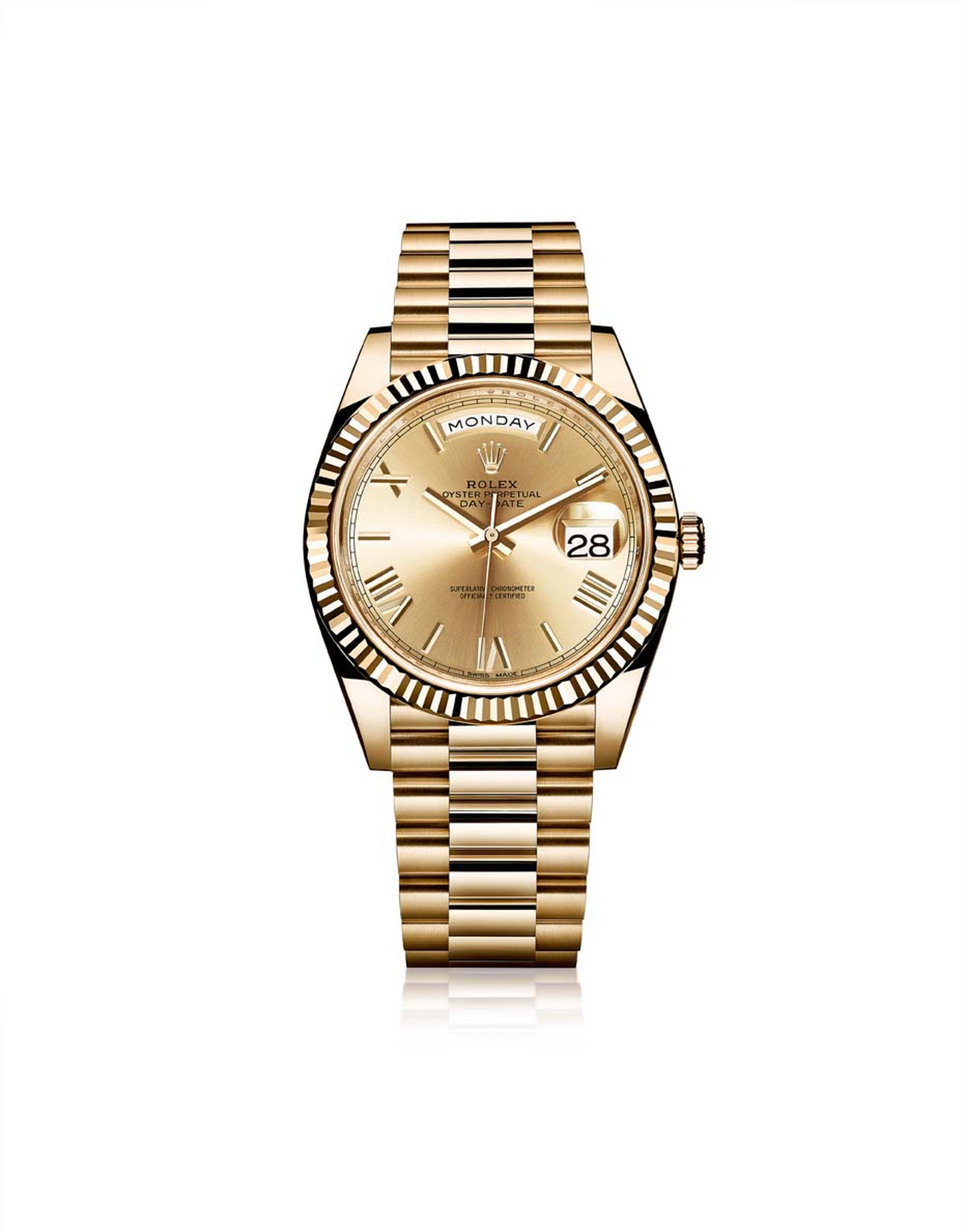 Rolex Oyster Perpetual Day-Date men's watch in a 40mm yellow gold case with the iconic date and day of the week indications, lovely champagne sunray finish gold dial and bevelled Roman numerals.