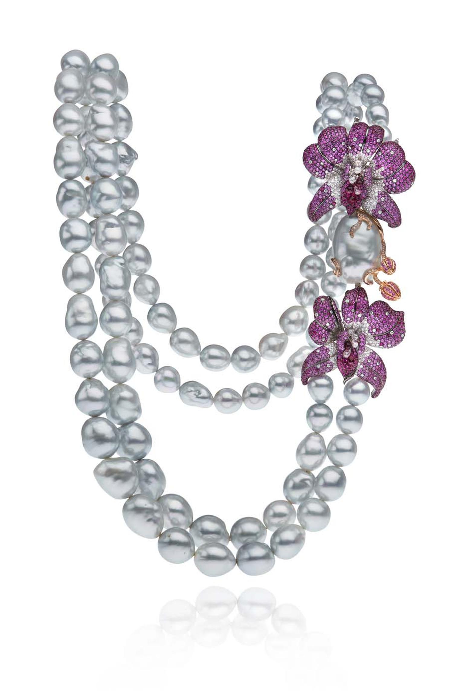 Autore baroque South Sea pearl necklace from the new Orchid high jewellery collection, which takes its inspiration from native Australian orchids.