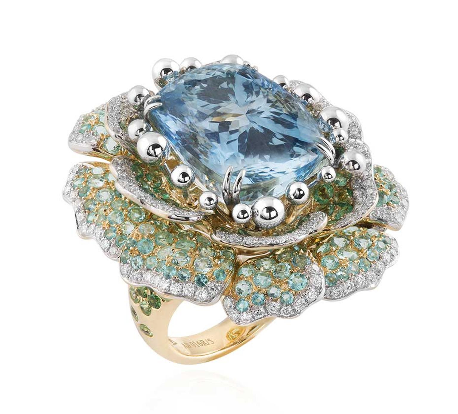 Alessio Boschi Peony aquamarine ring from the Naturalia high jewellery collection.