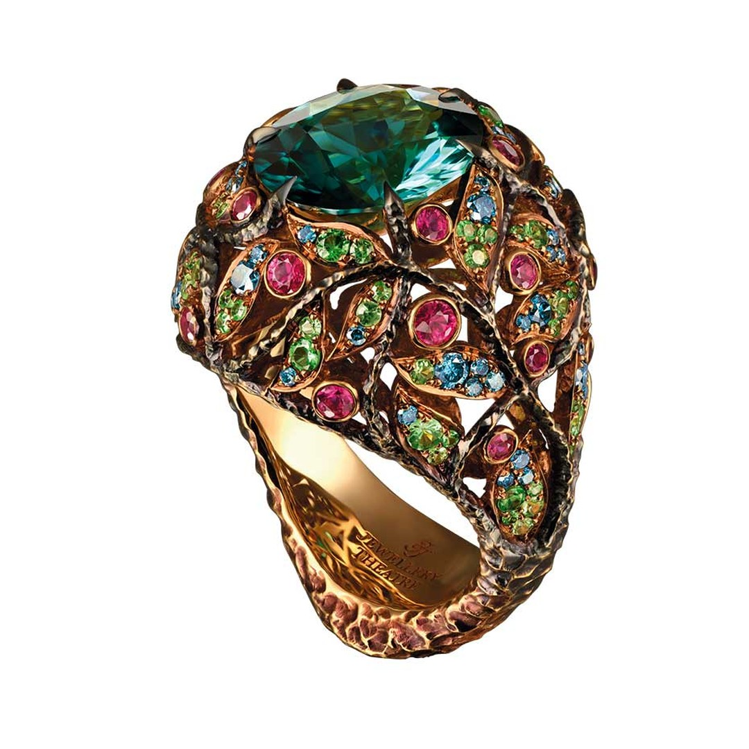 Jewellery Theatre ring in yellow gold from the new Rainforest high jewellery collection, set with a central tourmaline, coloured diamonds, rubies and tsavorites.
