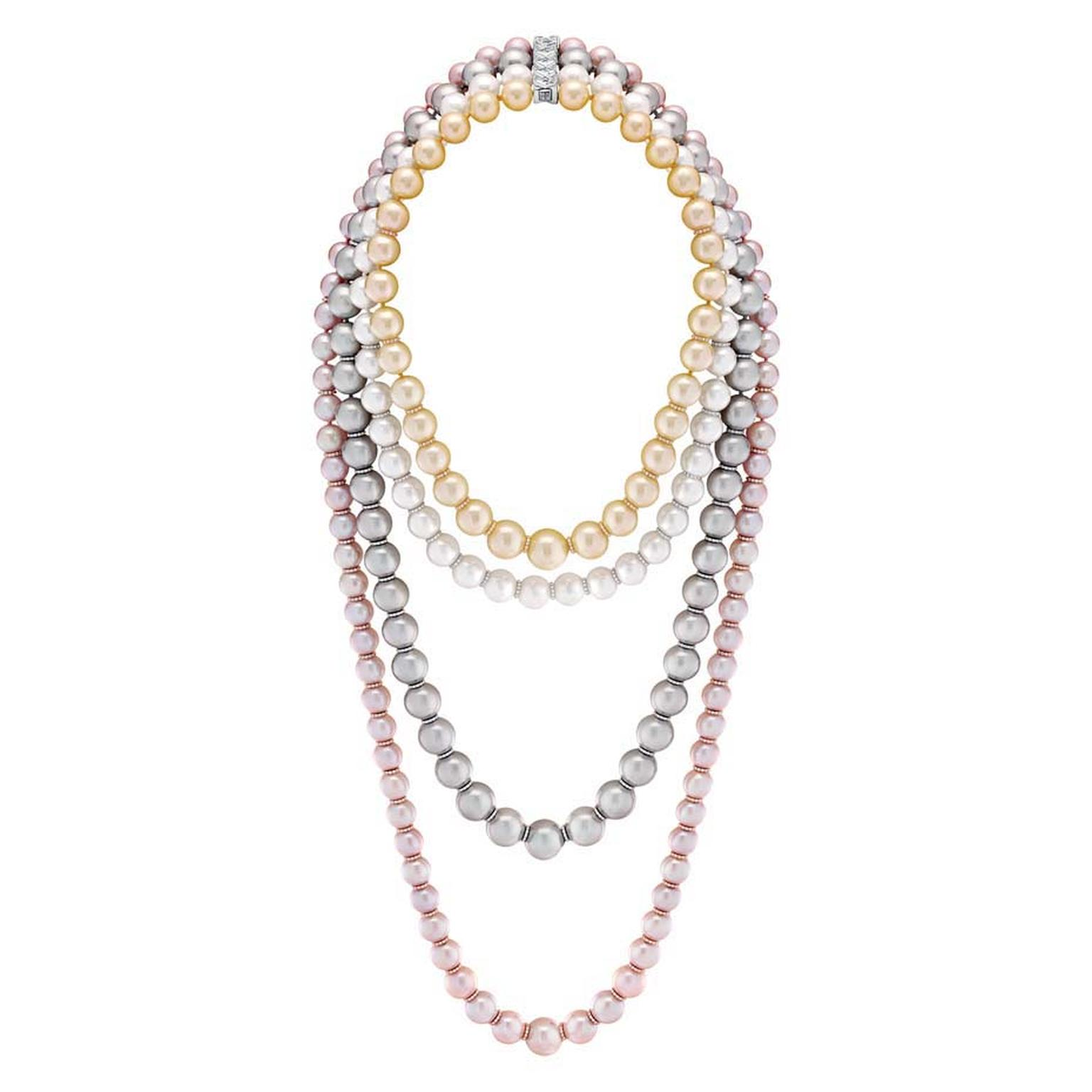Chanel Perles Swing necklace from the Les Perles de Chanel collection launched in 2014, set with brilliant-cut diamonds, 72 South Sea cultured pearls, 49 Tahitian cultured pearls and 75 freshwater cultured pearls.